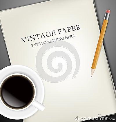 Folhas de papel, o pecin e a chávena de café