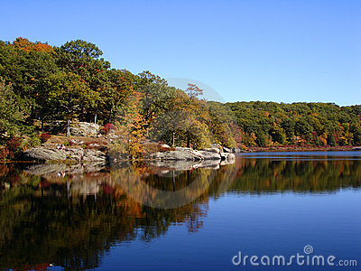 Foliage in Harrimen State Park. Forest reflects in waters of small lake
