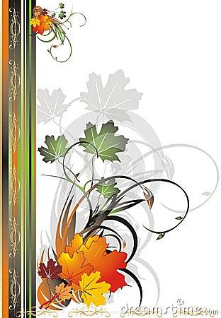 Foliage of maple. Autumn decorative frame for card