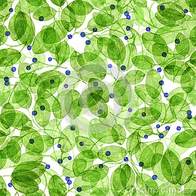 Free Foliage Seamless Pattern. Light Green Watercolor. Royalty Free Stock Images - 113915469
