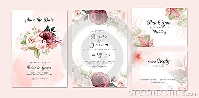 Foliage wedding invitation template set with burgundy and brown watercolor floral bouquet and border decoration. Botanic card Vector Illustration
