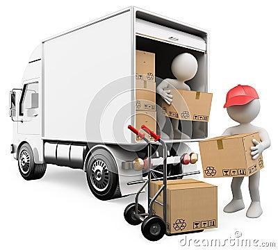 3d lastar av askar från en lastbil till en handlastbil bild 3d vit