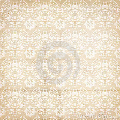 Folk antique vintage damask pattern with bird
