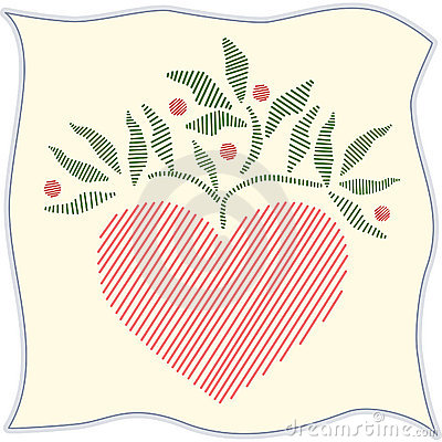 Free Folk Art Embroidered Heart On Linen Stock Image - 5932181
