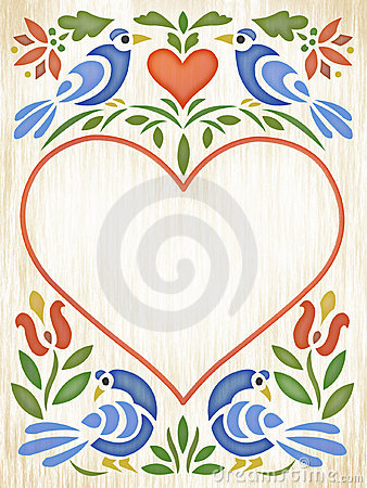 Free Folk Art Heart Stock Photography - 555242