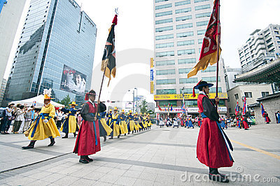 Folk celebrations in Seoul Editorial Stock Photo