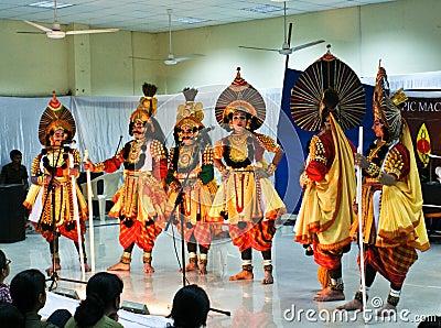 Folk dance Yakshagana s performers on stage Editorial Photo