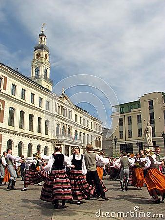 Folk dancers Editorial Stock Photo