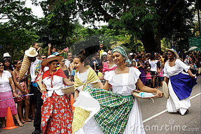 Folk dancers on carnival street. Editorial Photography