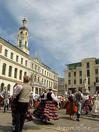 Folk dancers in the Riga Editorial Image