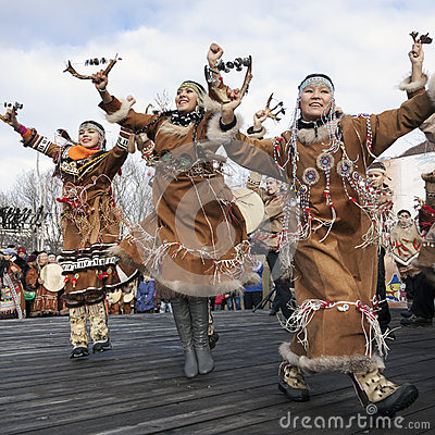 Free Folk Ensemble Performance In Dress Of Indigenous People Of Kamchatka. Russia Stock Photography - 53486462