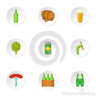 Folk festival of beer icons set, cartoon style Vector Illustration