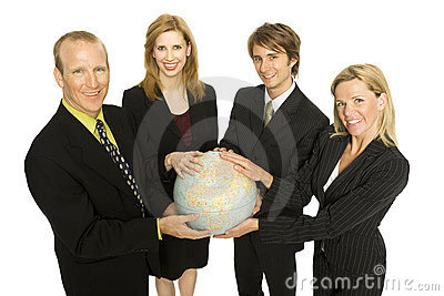 Folk för affärsjordklothåll