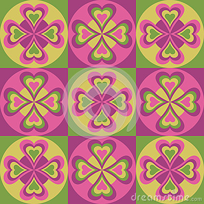 Folk Hearts in Pink and Green