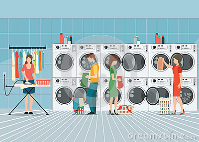 Folk I Tvättstuga Med Rad Av Industriella Tvagningmaskiner Vektor ... : tvättstuga med : Inredning