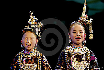Folk music : the Great Song of the Dong  ethnic Editorial Stock Image