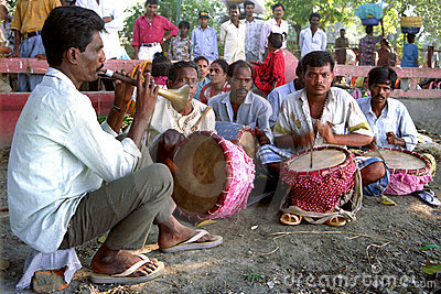 Folk Musicians performing Editorial Stock Image