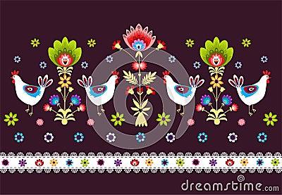 Folk Pattern With Birds - dark