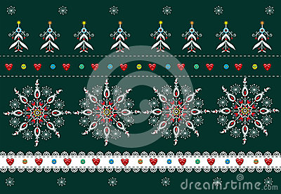 Folk Pattern Christmas Background