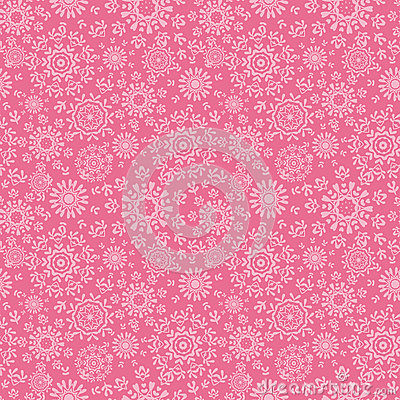 Folk pink floral circles texture abstract seamless