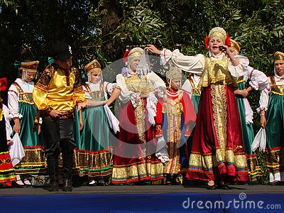 Folklore ensemble of Russian national song Editorial Image