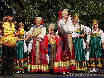 Folklore ensemble of Russian national song Editorial Stock Image