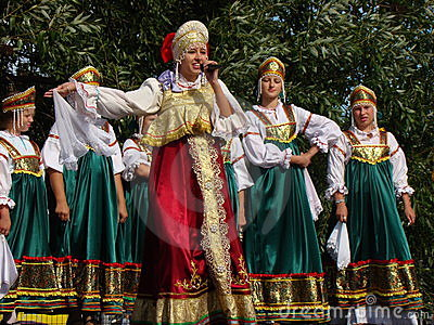Folklore ensemble of Russian national song Editorial Photography