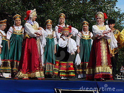 Folklore ensemble of Russian national song Editorial Stock Photo