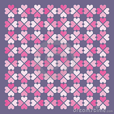 Folkloric hearts pattern. Vector.