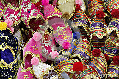 Folkloric slippers in Spice Bazaar, Istanbul