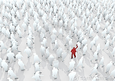 Folkmassan ut plattforer