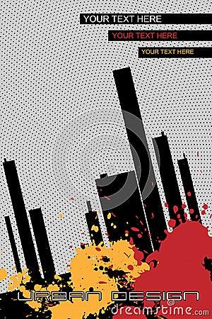 Folleto-fondo urbano del diseño - vector