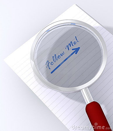 Free Follow Me Magnifying Glass Stock Photo - 16366780