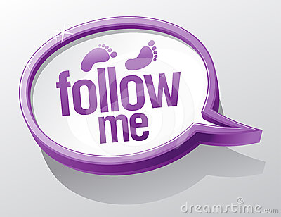 Follow me speech bubble.