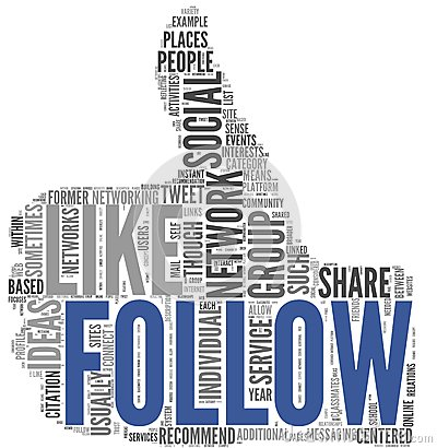 Follow symbol in tag cloud on white