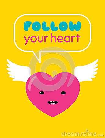 Free Follow Your Heart Sticker Royalty Free Stock Image - 88010996