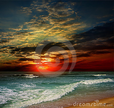 Free Folly Beach Ocean Sunset Stock Images - 22600014