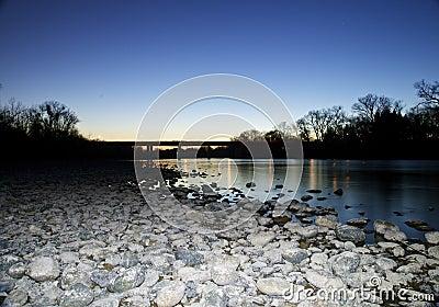 Folsom River Bridge at Sunset