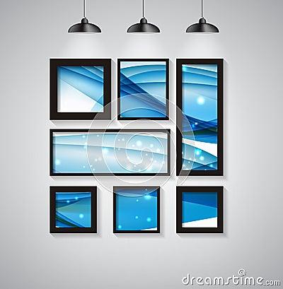 fond abstrait de galerie avec le cadre et la belle vague vecto illustration de vecteur image. Black Bedroom Furniture Sets. Home Design Ideas