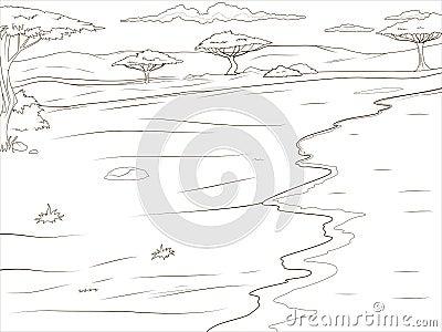 Fond africain de la savane de livre de coloriage - Savane dessin ...