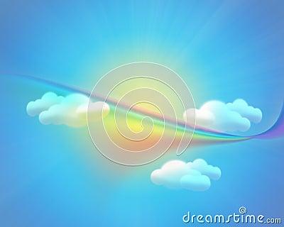 Fond de ciel avec les nuages et l arc-en-ciel du soleil
