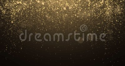 Fond de scintillement d'or avec l'effet de confettis de lumière d'éclat d'étincelle bouclé banque de vidéos