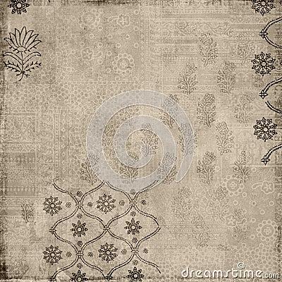 Fond floral d estampille de batik de type de cru de Brown