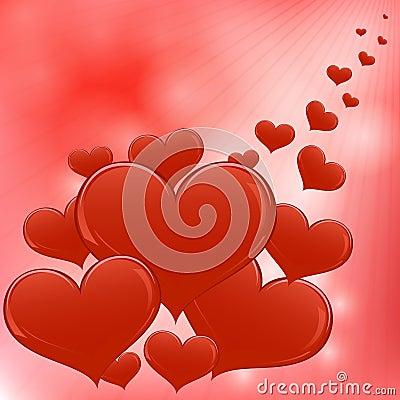 Fond rouge de coeurs