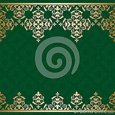 fond vert de vecteur avec l 39 orname d 39 or de vintage illustration de vecteur image 40110606. Black Bedroom Furniture Sets. Home Design Ideas