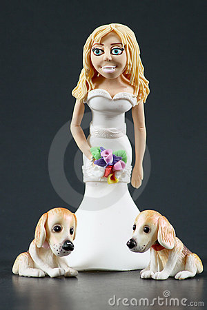 Fondant Bride and Dogs Wedding Cake Topper