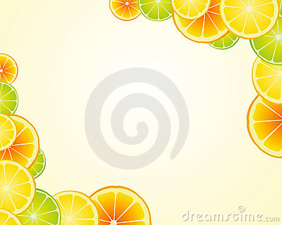 Fondo anaranjado del marco de la cal del limón