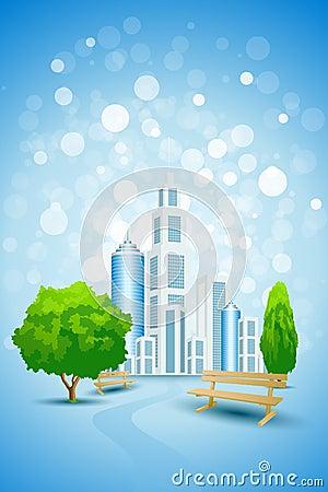 Fondo azul con el árbol y el banco del paisaje de la ciudad