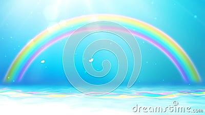 Fondo brillante con sol, el cielo azul, la mariposa, el arco iris y el mar almacen de video