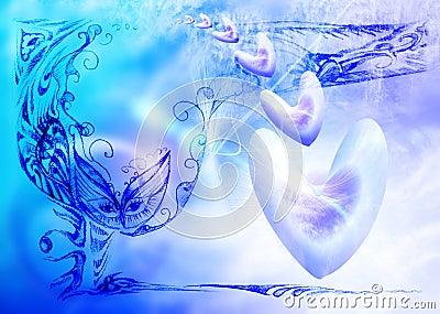 Fondo celestial azul suave con los corazones